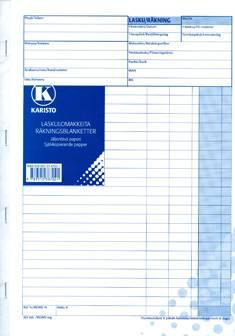 Laskulomake A4 (10 kpl/pkt, viivoilla, jälj. pap. 50 lehteä)