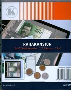 Rahakansion seteli/kolikkotasku (5 kpl/pakkaus, 3/3 lokeroa)