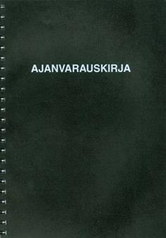 Ajanvarauskirja (A4, 24 kk, 224 sivua 8.00-21.00, musta kansi)