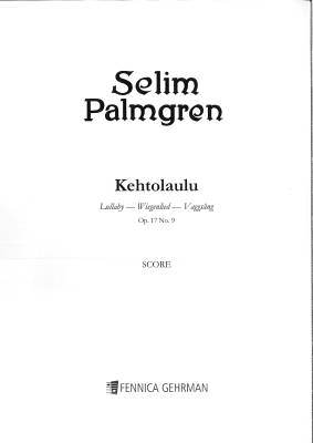 Kehtolaulu - Lullaby op 17/9 (score+parts 33221)