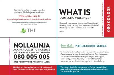 Nollalinja and shelters - information card (english, 100 pcs)