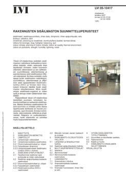 LVI 05-10417, Rakennusten sisäilmaston suunnitteluperusteet