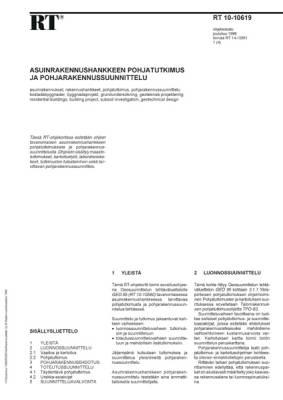 RT 10-10619, Asuinrakennushankkeen pohjatutkimus ja pohjarakennussuunnittelu