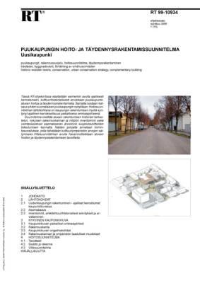 RT 99-10934, Puukaupungin hoito- ja täydennysrakentamissuunnitelma. Uusikaupunki