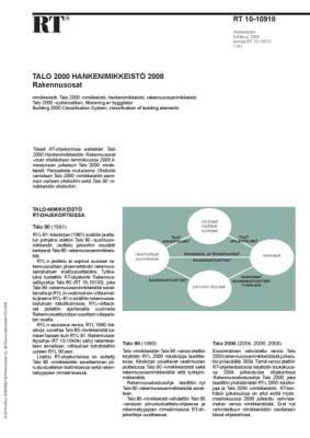 RT 10-10918, Talo 2000 Hankenimikkeistö 2008. Rakennusosat