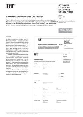 RT 16-10667, Sivu-urakkasopimuksen laatiminen