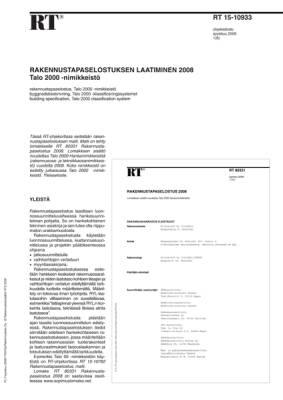 RT 15-10933, Rakennustapaselostuksen laatiminen 2008. Talo 2000 -nimikkeistö