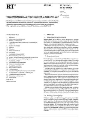 RT 75-11263, Valaistustekniikan perussuureet ja määritelmät
