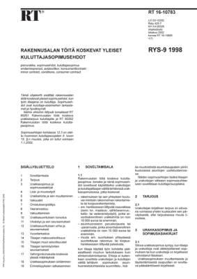 RT 16-10783, Rakennusalan töitä koskevat yleiset kuluttajasopimusehdot RYS-9 1998