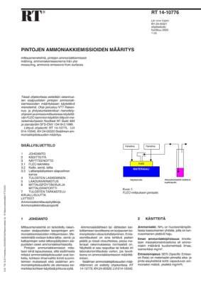 RT 14-10776, Pintojen ammoniakkiemissioiden määritys