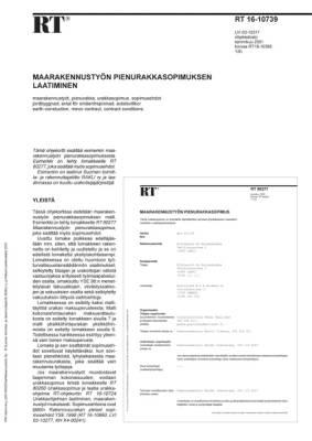 RT 16-10739, Maarakennustyön pienurakkasopimuksen laatiminen