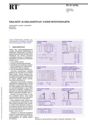 RT 47-10792, Naulakot ja naulakkotilat, yleisiä mitoitusohjeita